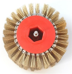 "Hub and steel brushes 4"" in width and 8 3/4"" diameter, 28 segment. Made to attach to a drill chuck."